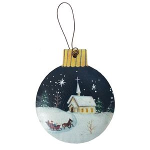 Holiday - Round Christmas Scene Rustic Ornament